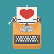 vintage typewriter and red heart on paper sheet - stock illustration