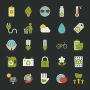 Stock Illustration of green eco icons set
