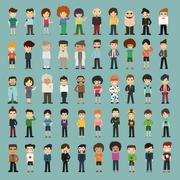 group cartoon people - stock illustration