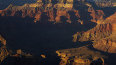 Grand Canyon National Park panning cliffs sunrise shadow, Arizona, USA - stock footage