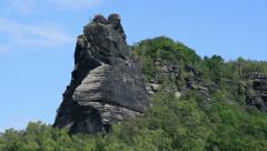 Pan tilt Lilienstein table mountain close 11363 Stock Footage