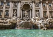 Statues on a fountain, trevi fountain, trevi, rome, rome province, lazio, ita Stock Photos