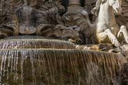 Sculptures on a fountain, trevi fountain, trevi, rome, rome province, lazio,  Stock Photos