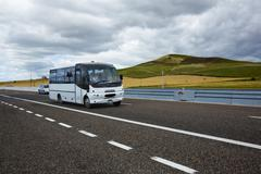 Bus moving on the road, vallata, avellino, campania, italy Stock Photos