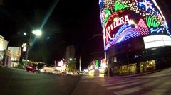 Rolling By The Riviera Hotel Casino- Las Vegas NV- Night Stock Footage