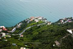 Stock Photo of aerial view of houses on the coast, villa cimbrone, ravello, province of sale