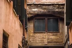 low angle view of a old building, venice, veneto, italy - stock photo