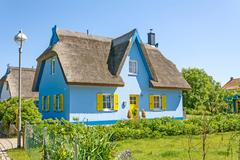 thatched-roof house - stock photo