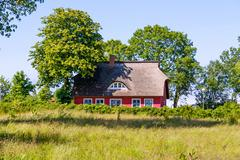 Stock Photo of thatched-roof house