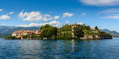 island bella maggiore lake - stock photo
