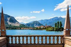 Island bella maggiore lake Stock Photos