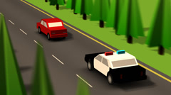 Police Car Chasing Red Car on Road - stock footage