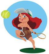 Girl playing tennis Stock Illustration