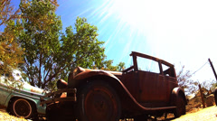 Low Angle Rusty Derelict Model A Ford In Junkyard Stock Footage