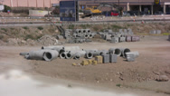 Stock Video Footage of Large sections of pipe on a building site in Cyprus