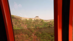 The tram at great wall of china beijing mutianyu Stock Footage