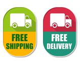 Stock Illustration of free shipping and delivery with truck sign, two elliptical labels