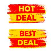 Hot and best deal, yellow and red drawn labels Stock Illustration