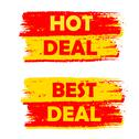 Stock Illustration of hot and best deal, yellow and red drawn labels