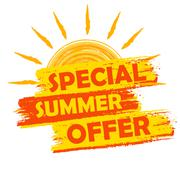 Special summer offer with sun sign, yellow and orange drawn label Stock Illustration