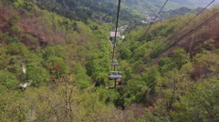 Riding the tram at great wall of china beijing mutianyu Stock Footage