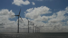 Windpark at the Sea in Denmark Stock Footage