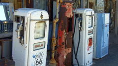 Old Style Gas Pumps Refrigerator- Route 66- Hackberry Arizona Stock Footage