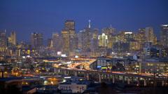 Time lapse San Francisco dusk illuminated commuter traffic elevated Highway, USA Stock Footage