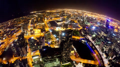 4k timelapse video of Melbourne city at night, fisheye view, zooming in Stock Footage