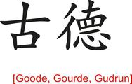 Stock Illustration of Chinese Sign for Goode, Gourde, Gudrun