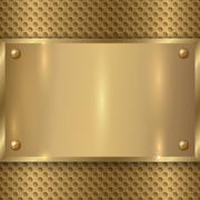 Vector abstract metal old gold plaque on the cell grid Stock Illustration