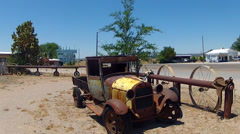 Rusting Model T Truck In Front Yard Along Route 66- Truxton AZ - stock footage