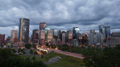 Timelapse of Downtown Calgary at Dusk Stock Footage