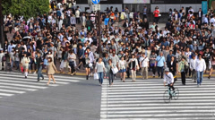 Pedestrians crossing the busiest crosswalk in the world in the Shibuya, Tokyo - stock footage