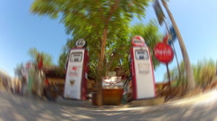 Surreal Old Time Gas Pumps At Old Time Gas Station- Radial Blur Stock Footage