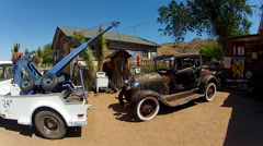 Tow Truck And Model T Ford Car At Hackberry General Store- AZ Stock Footage