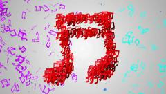 Red Musical Note Particles Loop Animation 4K resolution Ultra HD Stock Footage