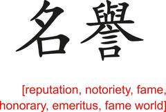 Chinese Sign for reputation, notoriety, fame, honorary,emeritus Stock Illustration