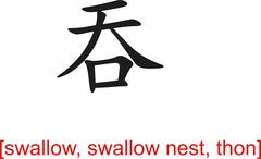 Chinese Sign for swallow, swallow nest, thon - stock illustration