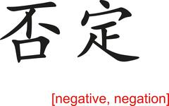 Chinese Sign for negative, negation - stock illustration