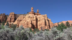 Bryce Canyon red rock twin pillar towers HD 169 Stock Footage