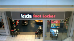 Kids Foot Locker mall entrance Stock Footage