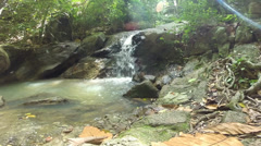 HD Tilt up Waterfall in deep forest Stock Footage