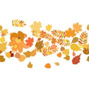 Stock Illustration of Autumn background with colorful leaves.
