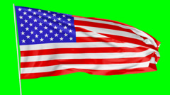 Flag of United States of America on flagpole Stock Footage