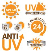 Set of uv sun protection and anti uv vector Stock Illustration