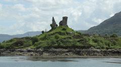 Dunakin castle in village of kyleakin on isle of skye, scotland Stock Footage