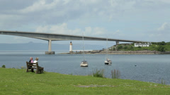 Isle of skye road bridge from mainland, scotland Stock Footage