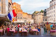 Piazza Campo De Fiori in Rome, Italy. - stock photo