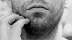 Man Scratching His Beard Stock Footage